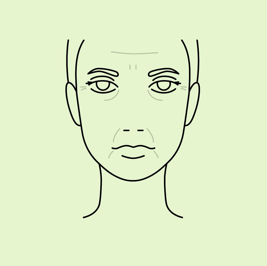 Zeichnung eines Frauengesichts mit Falten
