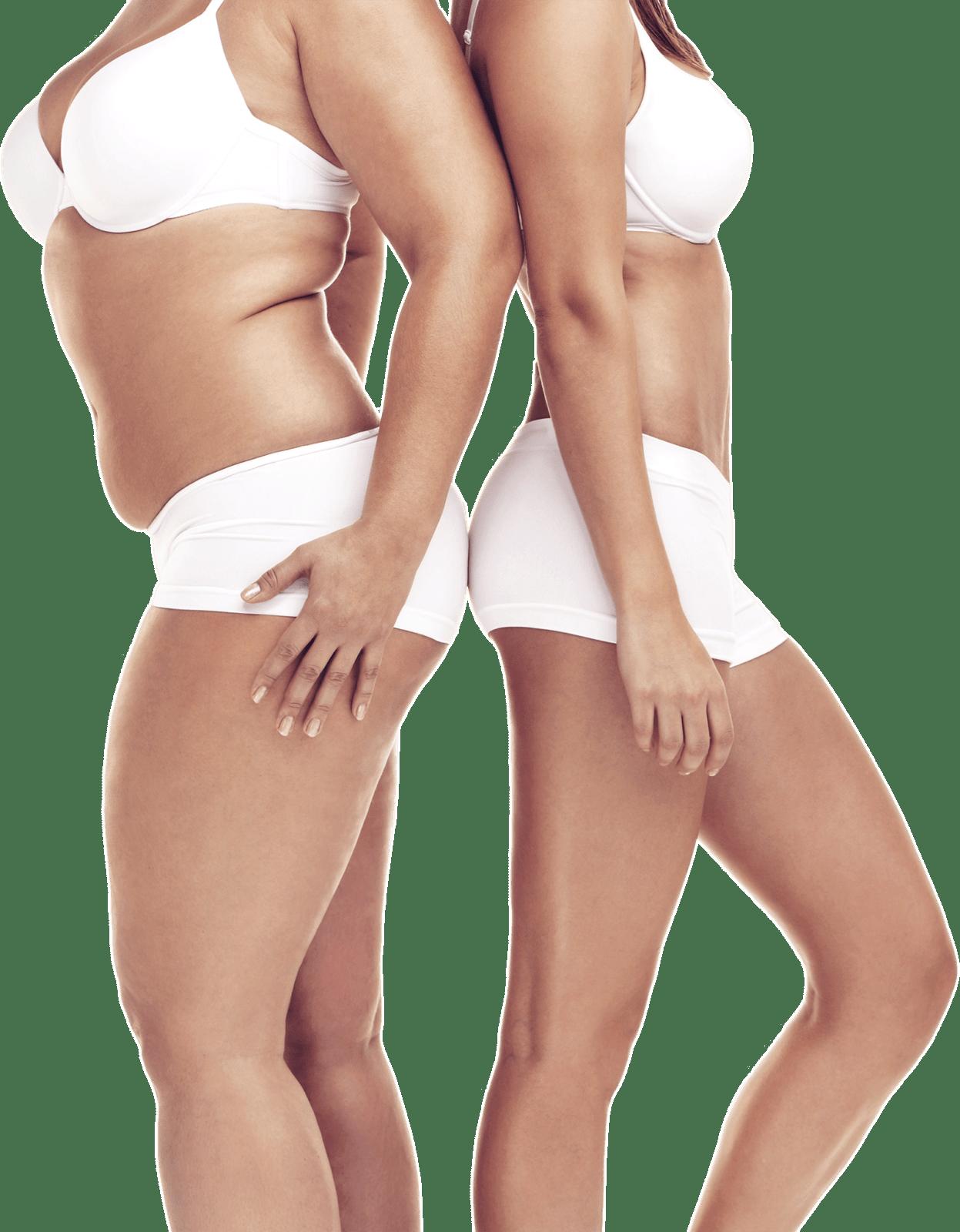 Zwei Frauenkörper in weisser Unterwäsche